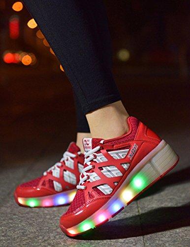 Turnschuhe Jungen Jazzy Roller Licht Kind Rädern Schuhe Junior Rosa Mädchen Fjuu Kinder Led Skate Mit SRPqXwp5