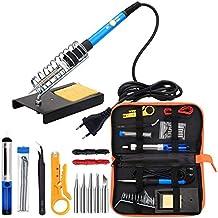 Soldador Kit electrónica, 60 W Temperatura ajustable herramienta sudor, 5 puntas, Bomba desoldadora