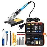 Kit de fer à souder CESHUMD, outil de soudage à température réglable 60 W avec 5 pannes à souder, pompe à dessouder, tube pour fil d'étain, support pour fer à souder, pinces