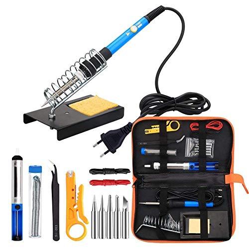 Lötkolben Kit Elektronik, 60W Einstellbare Temperatur Schweißwerkzeug, 5er Lötspitzen, Entlötpumpe, Lötkolben Ständer, Pinzette (Aluminium Löten Kit)