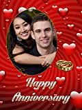 """Personalized HAPPY ANNIVERSARY Picture Photo Greeting Card - Red love Theme(6"""" x 8"""") - 2 Pcs"""