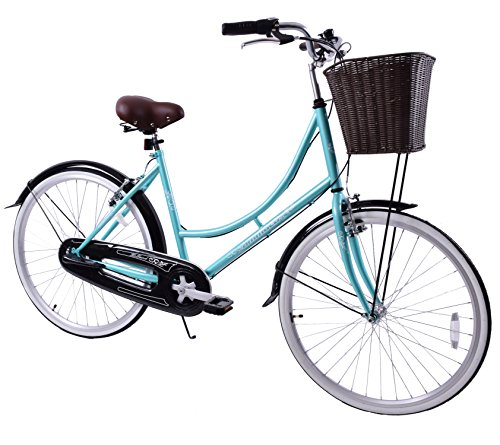 "Ammaco Holland Womens 26"" Wheel Dutch Style Heritage Bike & Basket Mint Green 16"" Frame"