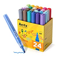Arrtx Acrylic Paint Marker Pens 24 Colors Art Permanent Markers for DIY Glass, Ceramic, Rock, Wood, Canvas, Metal, Fabric, Highly Pigmented Acrylic Pens Great for Beginners, Hobbyists