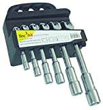 Tec Hit 325506 Jeu de 6 clés à pipe débouchées de 8 à 19 mm, Argent