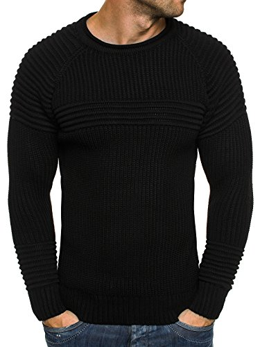 OZONEE Herren Strickjacke Pullover Strickpullover Sweats Strick BLACK ROCK 18001 Schwarz_MAD-1561