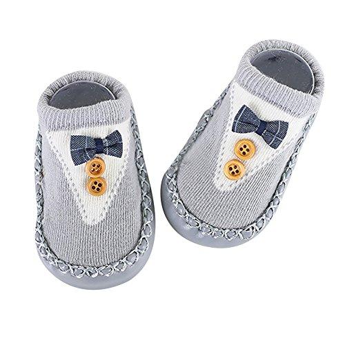 Huhu833 Baby Socken, Cartoon Neugeborenes Baby Mädchen Jungen Anti-Slip Socken Slipper Schuhe Strumpf (Grau, 0-6M) 6m Schuhe