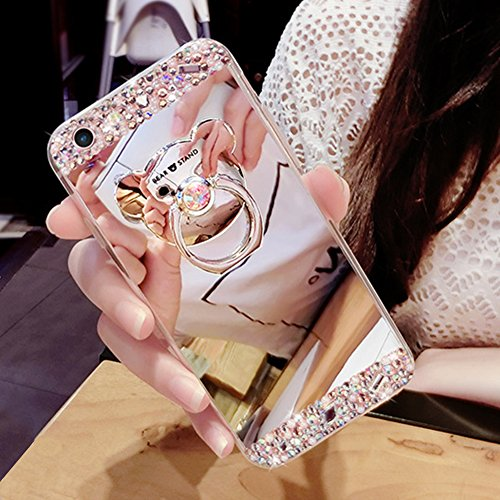 Preisvergleich Produktbild Felfy Hülle Silikon für Huawei P10 Plus,Huawei P10 Plus Schutzhülle Bär,Huawei P10 Plus HandyHülle Glitzer Bling Kristall Strass Diamant Spiegel Hülle mit Bär Ring Ständer Überzug Mirror Spiegel Stoßdämpfend TPU Silikon Schutz Handy Hülle Case Tasche Silikon Crystal Case Schutzhülle Etui Bumper für Huawei P10 Plus + 1x Silver Stylus+ 1x Bling Dust Plug [Zufällige Farbe].Silber