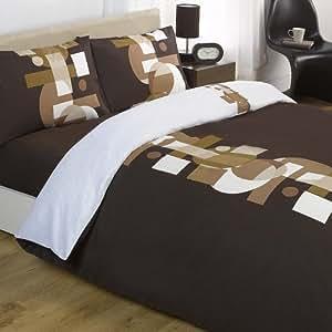 Denver Chocolate Brown & Beige Reversible Double Duvet Quilt Cover Bedding Set