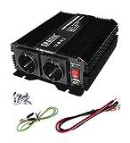 ERAYAK 600W Wechselrichter TÜV Zertifiziert, DC12V auf AC230V Spanungwandler, Konverter mit 2 EU Steckdose, 2.1A USB Port, Autobatterieclips, Kabel