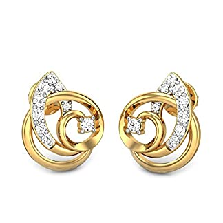 Candere By Kalyan Jewellers Rosemary 14k Yellow Gold and Diamond Stud Earrings