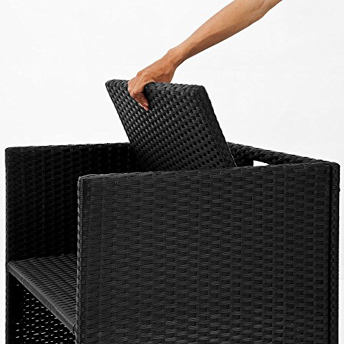 Deuba® Poly Rattan Sitzgarnitur 8+1 | Cube Design | 7cm dicke Auflagen in creme | klappbare Rückenlehne | platzsparend [ Modellauswahl 2+1 | 4+1 | 8+1 | 10+1 ] - Sitzgarnitur Gartengarnitur Rattanmöbel Gartenmöbel Set - 6