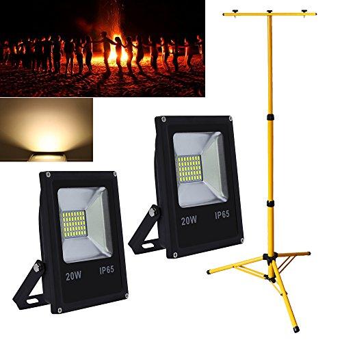 Hengda® 2X 20W Warmweiß LED Fluter Außen Flutlicht mit Höhenverstellbar Stabiles Dreibeinstativ Doppelt Teleskop-Stativ