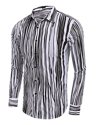 Coofandy Mens Casual Shirt Long Sleeve Classic Striped Shirt