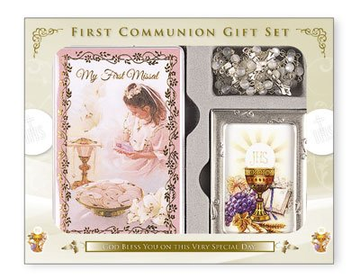 FHC First Holy Communion Gift Set Girl Missal Book, Rosary Beads, Photo Frame 9cm x 6cm C5188