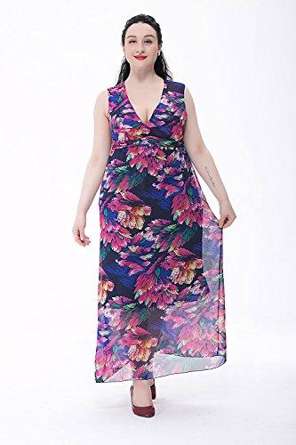 Moollyfox Femmes Grande Taille Floral Imprimé Maxi Robe de Bohème, Longue Robe De Plage L-6XL Marine