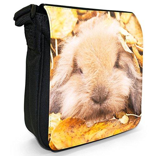 Peluche conigli Borsa a spalla piccola di tela, colore: nero, taglia: S Bunny Rabbit In Leaves