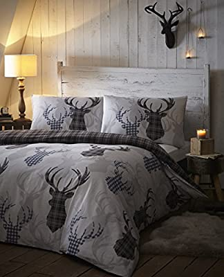 Tartan Stag Check Silver Grey Animal Stag Quilt Duvet Cover Set