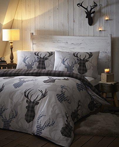 cerf-tartan-carreaux-gris-argent-animal-parure-de-lit-avec-housse-de-couette-de-cerf-noir-simple