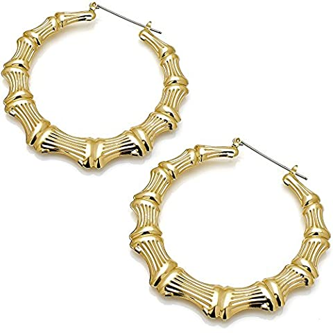 Classic style women's large bamboo fashion gold plated costume jewellery 7 cm hoop earring design