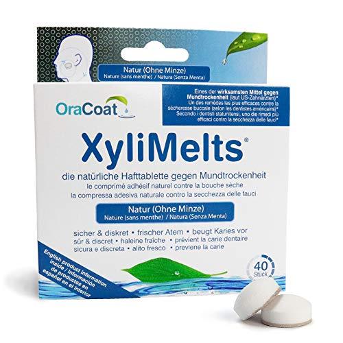 OraCoat XyliMelts - 40 Haft-Tabletten gegen Karies und Mundtrockenheit - Diskret - Im Schlaf verwendbar - VEGAN [Ohne Minze]