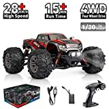 Hosim High Speed 36km / h 4WD 2.4Ghz Remote Control Truck 9145, Scala 1:20 Radio Conrtolled Offroad RC Car Electronic Monster Truck R / C RTR Hobby Cross-Country Car Buggy (Rosso)