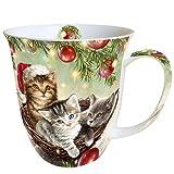 Ambiente Weihnachten Tasse Katzen im Korb Tasse 0,4l Fine Bone China