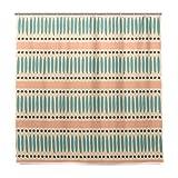 ISAOA Ethno Muster in Pastell Orange und Blau Wasserdicht Duschvorhang, schimmelresistent antibakteriell Personalisiertes Design Polyester Stoff Vorhang für Badezimmer, 180x 180cm mit 12Haken