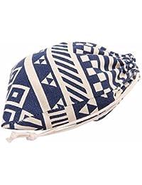 L , Blue : Culater® National Wind Stripes Drawstring Beam Port Storage Bag Travel Bag Gift Bag (L, Blue)