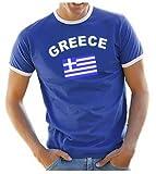 Coole-Fun-T-Shirts Herren T-Shirt Griechenland Ringer, blau, L, 10832_Griechenland_HERI_GR.L