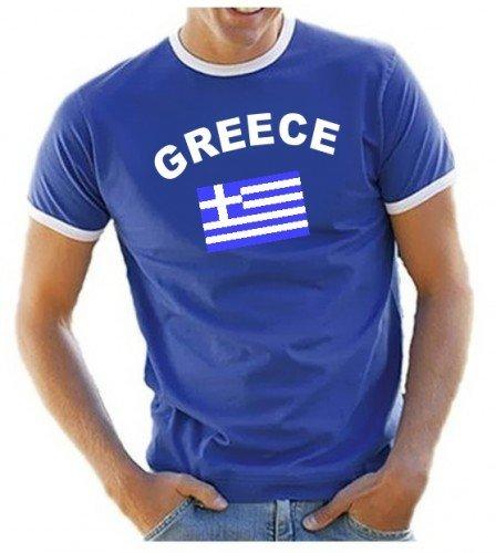 Coole-Fun-T-Shirts Herren T-Shirt Griechenland Ringer, blau, S, 10832_Griechenland_HERI_GR.S