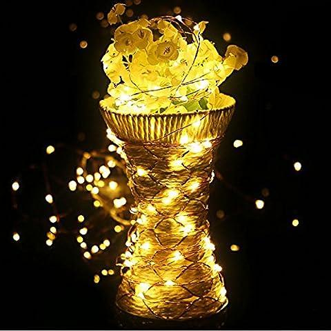 HAHOME® luces de hadas cadena 16.4ft 50 luces de la secuencia del LED con automáticas temporizador fiesta de Navidad de la boda del jardín luz estrellada(blanco cálido)