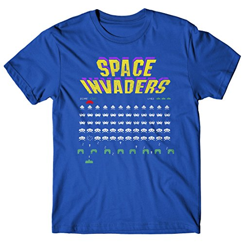 Space Invaders Screen Men's Blue T-shirt - S to XL
