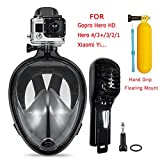 Snorkeling Mask,Seaview and 180 Degree Scuba Diving Full Face Free Breath Design Breath Ventilation Concept Anti-Leak Anti-Fog Swimming Mask For Gopro Hero 4/3+/3/2/1 SJ4000 SJ5000,Xiaomi Yi Sports Action Camera (Black, L/XL)