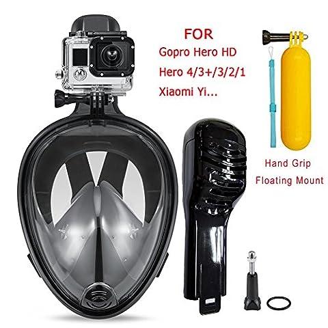Masque de plongée avec tuba, vue à 180°, Masque recouvrant le visage, Respiration facile, Système anti-fuite et anti-buée, Masque de natation pour GoPro Hero 4/3+/3/2/1,SJ4000,SJ5000, Caméra Xiaomi Yi