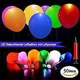 HogarTech LED Luftballons 50 Stück Beleuchtende Ballons In Verschiedenen Farben, Ideale Dekoration für Hochzeit Party Geburtstag Fest, Enthält Luftpumpe