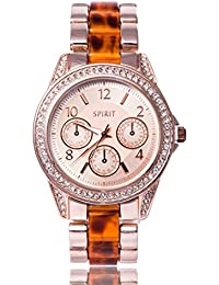Spirit Ladies Tortoiseshell and Gold Style Watch with Diamante Detail