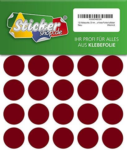 120x PVC película adhesiva Pegatinas de lunares 30mm codificación de Color rojo resistente a la intemperie