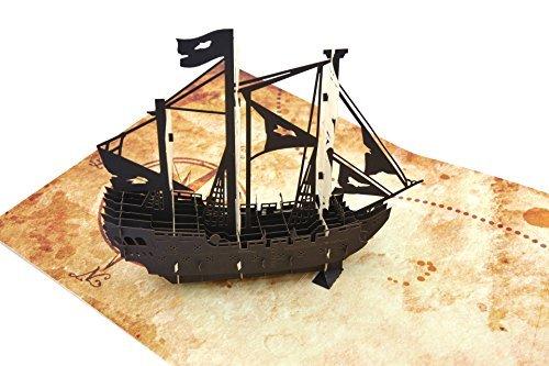 Poplife cards nave pirata e mappa del tesoro biglietto di auguri pop-up 3d per tutte le occasioni - la festa del papà, buon compleanno, lauree, i cacciatori di tesori della pensione, i pirati, gli am