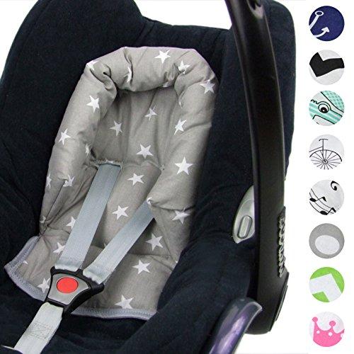 BAMBINIWELT Kopfkissen, KOPFPOLSTER für Maxi Cosi CabrioFix, DESIGN (grau weiß kleine Sterne)