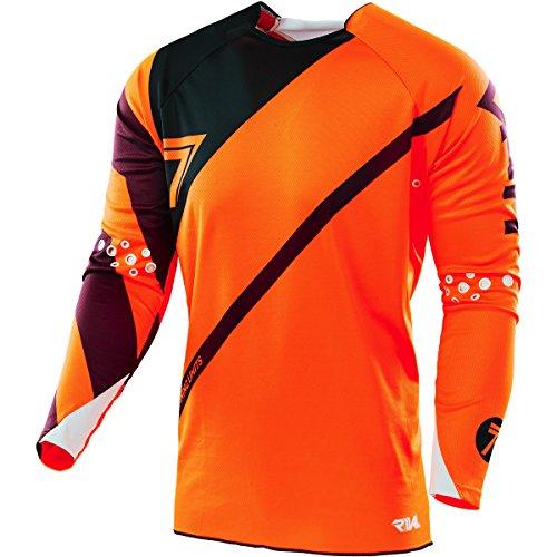 Sieben MX Rival Sicherung Erwachsene Jersey, Flow orange/schwarz, Größe M (Flow Bike Jersey)