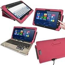 """igadgitz Rosa 'Portfolio' Eco-Piel Case Cover para Asus Vivo Tab TF810C 11.6"""" Tablet & Base Dock Teclado."""