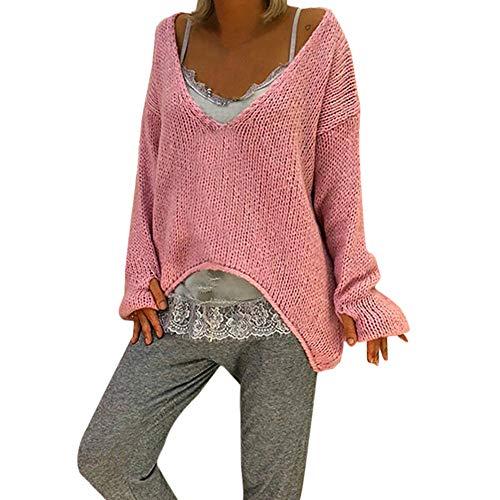 iHENGH Damen Herbst Winter Bequem Lässig Mode Frauen Warm V Ausschnitt Pullover Einfarbig Langarm Pullover Beiläufiger ()