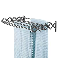 mDesign Metal Wall Mount Accordion Expandable Retractable Clothes Air Drying Rack, Fold Away - 8 Bars for Hanging Garments - Great for Laundry Room, Bathroom, Utility Area - Graphite Gray