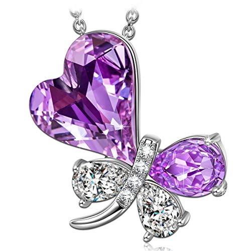 15997298c2f8 Kate Lynn Collar Regalo del día de la Madre Princesa de Mariposa Collar  Mujer Colgante Cristal