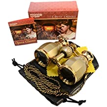 HQRP Prismáticos de ópera / Binocular de Teatro de estilo antiguo 4 x 30 dorado con cadena dorada