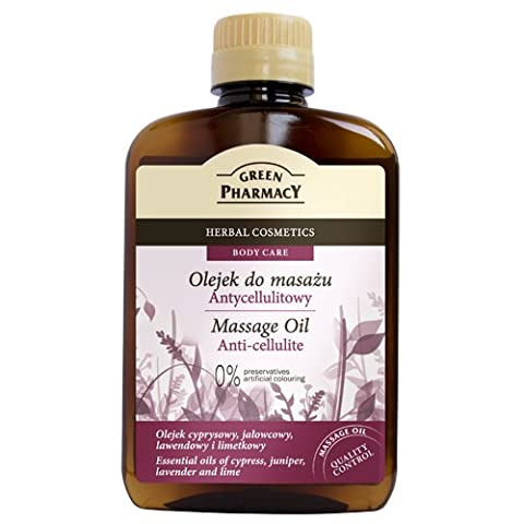 Anti-Cellulite Massage Oil - Helps Reduce Cellulite by Encouraging Lymph Flow - Essential Oils of Juniper, Lavender, Cypress, Lime and Almond - 200ml