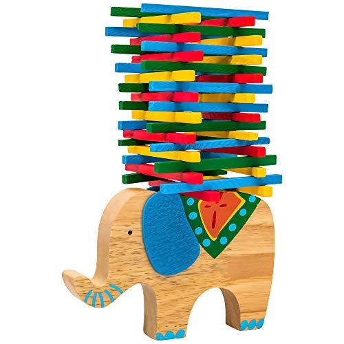 Natureich Elefant Montessori Stapel Spielzeug aus Holz zum Geschicklichkeit Lernen mit Stäbchen Bunt / Natur ab 3 Jahre für die frühe Motorik Entwicklung & Ausbildung Ihres Kindes (Blau) - Stapeln Kinder Spielzeug