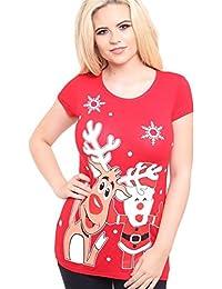 New Ladies Olaf Minion X-Mass Print T-Shirts Christmas Tee Tops 8-20