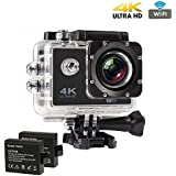 4K WIFI Sports Action Camera Ultra HD Waterproof DV Camcorder 16MP 170 Degree Wide Angle With Lavalier Noise Cancelling 3.5mm Clip On Mini Microphone Compatible With Xiaomi, Lenovo, Apple, Samsung, Sony, Oppo, Gionee, Vivo Smartphones And All Laptop,PC,Ta