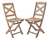 Ambientehome Java Exclusiv Lotta - Juego de 2 sillas Plegables, Madera Maciza, Color marrón